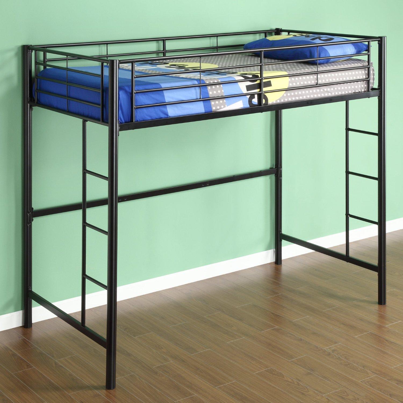twin metal loft bed black bedroom furniture - Metal Frame Loft Bed